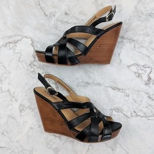Seychelles   Black Strap Wedge Heel 8